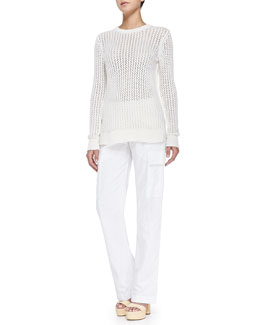 Michael Kors Zigzag Crewneck Cotton-Cashmere Sweater & Straight-Leg Cargo Pants