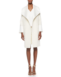 Adam Lippes Oversized Collar Coat, V-Neck Double-Layer Shell & A-Line Skirt with Front Snaps