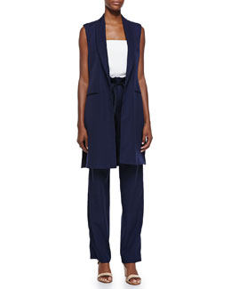 Adam Lippes Long Shawl-Collar Vest, Strapless Bustier Top & Wool Paperbag-Waist Pants