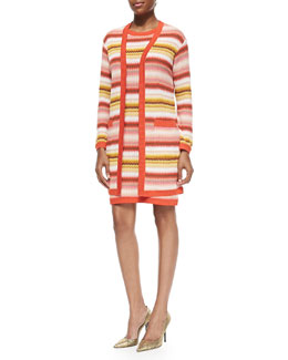 Missoni Long Zigzag-Striped Open Cardigan & Zigzag-Striped Tank Dress