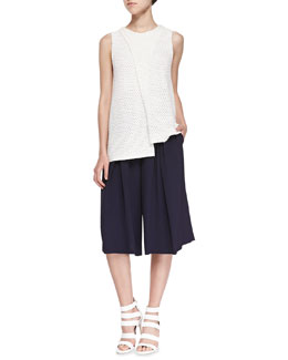Thakoon Addition Sleeveless Crossover Crochet Top & Pleated-Front Herringbone Culottes