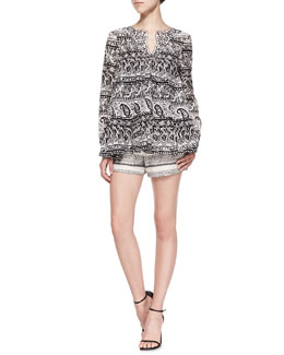 Thakoon Addition Long-Sleeve Paisley Blouse W/ Contrast Collar & Tweed Shorts with Braided Trim