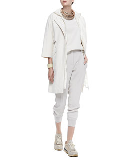 Brunello Cucinelli Long Zip-Front Coat, Long Hooded Check Vest, Layered Silk Crepe Tank, Multi-Strand Leather Necklace & Cropped Pants W/ Tux Stripes