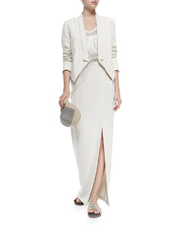 Brunello Cucinelli Chain and Jute Baseball Cap, Cropped 3-In-1 Tux Jacket, Lamé Tank with Net Overlay
