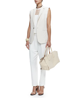 Brunello Cucinelli Clean Canvas Snap-Button Vest, Sleeveless Silk Overalls Jumpsuit & Monili Chain-Wrapped Necklace