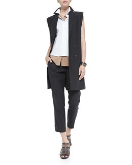 Brunello Cucinelli Fringe & Monili Chain Long Vest, Two-Tone Layered Sleeveless Blouse & Cropped Wool Pants W/ Fringe Detail