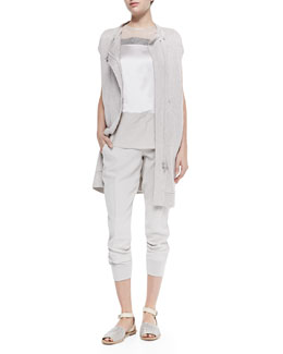 Brunello Cucinelli Long Ribbed Cap-Sleeve Cardigan, Sleeveless Mixed Media Top & Cropped Pants W/ Tux Stripes