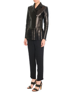 Valentino Leather Jacket with Fringe & Silk Jogging Pants with Drawstring
