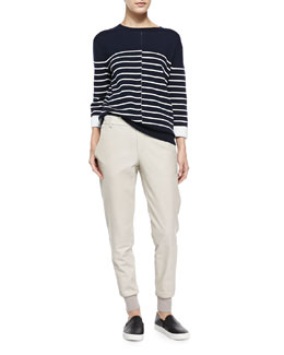Vince Double-Face Striped Knit Sweater & Knit-Cuff Leather Jogging Trousers
