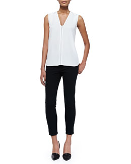 Vince Sleeveless Shell W/ Mesh Insert & Mason Slim Cropped Jeans