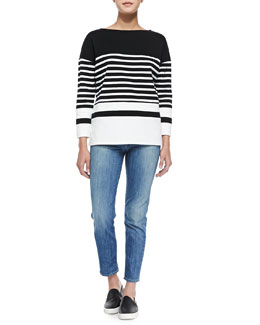 Vince Nautical-Stripe Boat-Neck Top & Mason Slim Cropped Jeans,