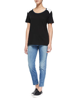 Vince Tricolor Short-Sleeve Tee & Mason Slim Cropped Jeans