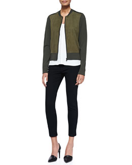 Vince Suede-Front Knit Zip Cardigan, Sleeveless Shell W/ Mesh Insert & Mason Slim Cropped Jeans