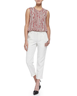 Vince Jewel-Neck Tribal Dot Shell & Cuffed Twill Cargo Pants