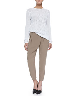 Vince Crewneck Zigzag Mesh Sweater & Leather-Trim Wrap-Waist Pants