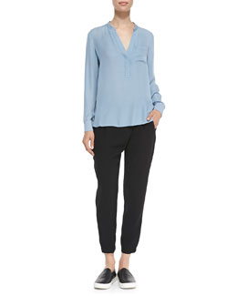 Vince Half-Placket Silk Blouse & Leather-Trim Wrap-Waist Pants