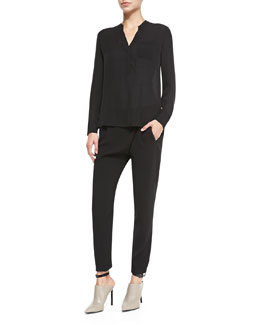 Vince Long-Sleeve Blouse W/ Half Placket & Leather-Trim Wrap-Waist Pants