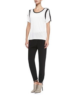 Vince Contrast-Trim Slub Top & Leather-Trim Wrap-Waist Pants