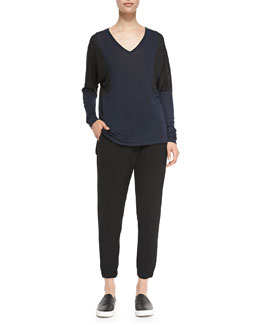 Vince Long-Sleeve Colorblock Tee & Leather-Trim Wrap-Waist Pants