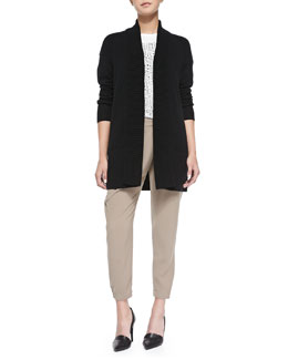 Vince Cashmere-Blend Shawl Cardigan, Short-Sleeve Tee W/ Tribal-Print Square & Leather-Trim Wrap-Waist Pants