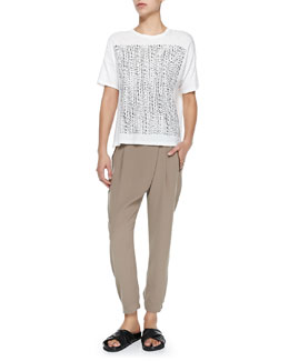 Vince Short-Sleeve Tee W/ Tribal-Print Square & Leather-Trim Wrap-Waist Pants