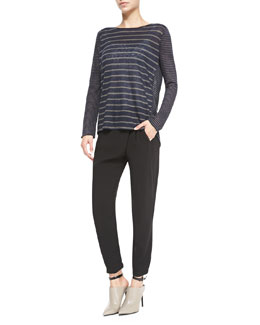 Vince Mixed-Stripe Linen Slub Top & Leather-Trim Wrap-Waist Pants