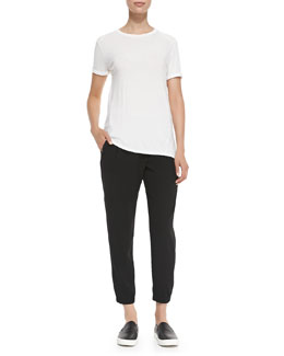 Vince Mixed-Fabric Short-Sleeve Tee & Leather-Trim Wrap-Waist Pants
