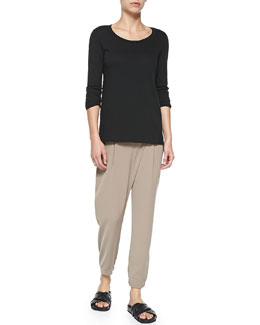Vince Mixed-Fabric Long-Sleeve Tee & Leather-Trim Wrap-Waist Pants