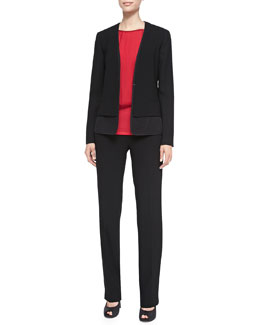 Elie Tahari Bernice Tiered Mesh Jacket, Alexis Layered Tank Blouse & Rae Zipper Pocket Pants