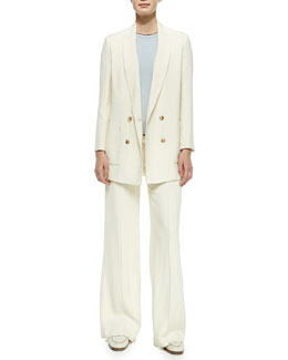 THE ROW Double-Breasted Boyfriend Blazer, Cashmere Short-Sleeve Sweater & Wide-Leg Flat-Front Pants