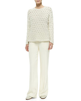 THE ROW  Wavy-Cable-Knit Sweater & Wide-Leg Flat-Front Pants