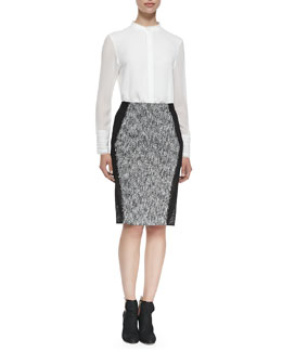 Elie Tahari Alejandra Fringe-Trim Silk Blouse & Willow Tweed Pencil Skirt
