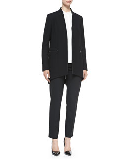 Elie Tahari Natalie Long Arch-Hem Coat, Alejandra Fringe-Trim Silk Blouse & Jillian Straight-Leg Pants