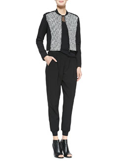 Elie Tahari Cleary Tweed Boxy Jacket, Kaori Sweater with Mesh & Presley Crepe Pants