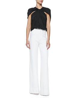 Cushnie et Ochs Crepe de Chine Cape-Shoulder Top & Oscar Flat-Front Wide-Leg Pants