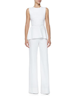 Cushnie et Ochs Oscar Jersey High-Low Peplum Top & Oscar Flat-Front Wide-Leg Pants, White