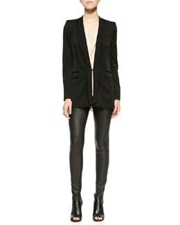 Alice + Olivia Bryan Long Slim Tuxedo Blazer, Avon Draped Sleeveless Silk Blouse & Lamb Leather Leggings