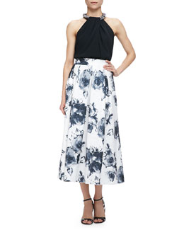 Carmen Marc Valvo Halter Beaded-Neck Top & Floral Jacquard Pleated Midi Party Skirt