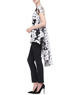 Lela Rose Short-Sleeve Watteau-Back Top & Catherine Straight-Leg Pants