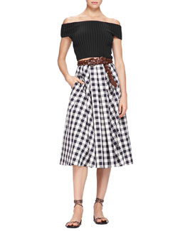 Michael Kors Off-The-Shoulder Crop Top & Macro Gingham Midi Skirt