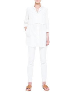 Akris Two-In-One Layered Boyfriend Crop Top and Tunic  & Melissa Slim-Fit Double-Faced Pants
