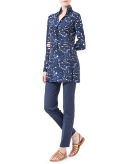 Akris Chefchaouen-Print Polo-Style Tunic & Magda Slim-Fit Silk-Blend Pants, Azurite