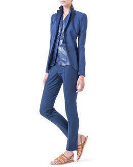 Akris Cashmere-Blend Gabardine Blazer, V-Neck Leather Top & Melissa Slim-Fit Techno Pants