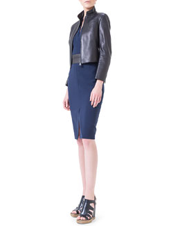 Akris Asymmetric-Cut Back Leather Jacket & Leather-Trimmed Double-Faced Sheath Dress