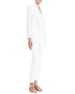 Akris Slit-Sleeve Double-Faced Jacket, Scoop-Neck Georgette Tank & Melissa Slim-Fit Double-Faced Pants, Calcite