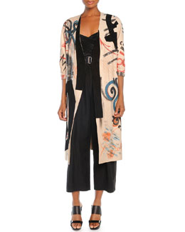 Donna Karan Hand-Painted Leather Jacket with Belt, Cross-Front Top & Cropped Pleated Canvas Pants