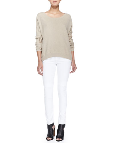 Textured Knit Drop-Sleeve Sweater & 5-Pocket Skinny Jeans
