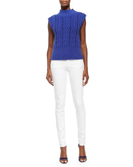 Alice + Olivia Queena Cable-Knit Sleeveless Sweater & 5-Pocket Skinny Jeans