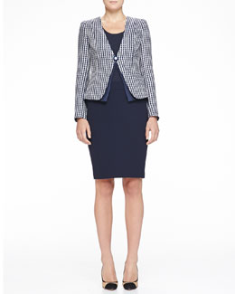 Armani Collezioni Collarless Geometric Jacquard Jacket, Stretch Jersey Tank & Double-Crepe Pencil Skirt