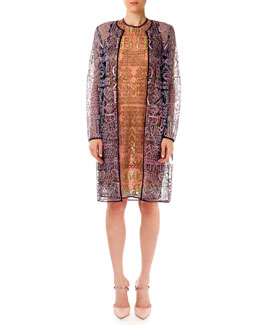 Mary Katrantzou Sheer Glitter Letter-Print Long Cardigan & Dress